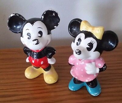 Vintage Mickey and Minnie Mouse Disney Figurines Made in Japan for Disney Parks