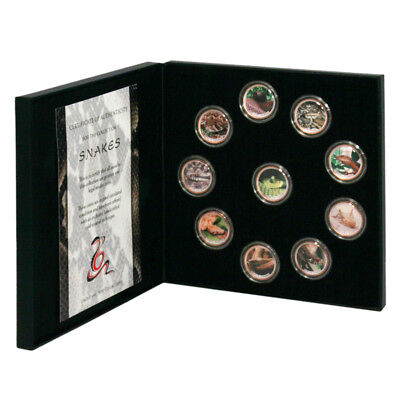 Gibraltar World of Snakes 10 Enameled Coin Set Mint Packaging Certificate of Aut