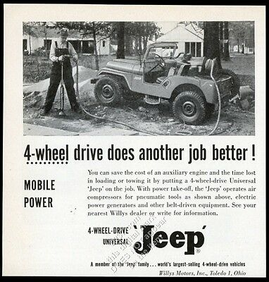 1955 Willys Jeep CJ Universal with air compressor photo vintage trade print ad 1