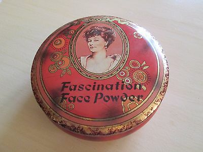 "Vintage Round Tin ""Fascination Face Powder"" Daher Made in England"