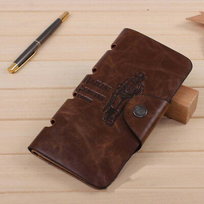 New Mens Vintage Leather Long Wallet Pockets ID Card Clutch Bifold Brown Purse