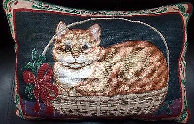 Cat Pillow Small Tapestry Throw Pillow Pre-Loved Orange Tabby in Wicker Basket