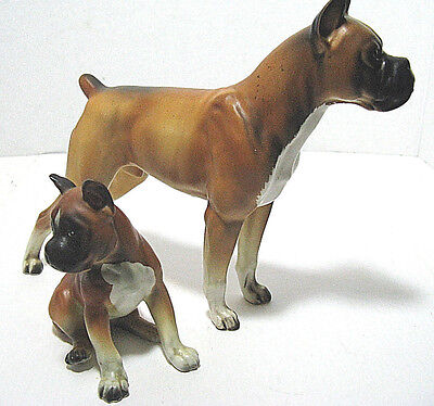 VINTAGE Lefton Porcelain Ceramic Boxer Dog Figurine With Boxer Puppy