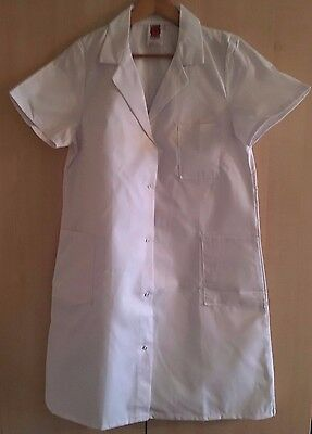 2 x Short Sleeved White Work Coats, Medical,Pharmacy,Catering,Beautician Size 38