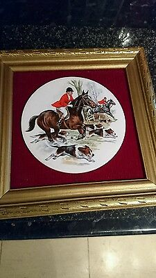 vintage framed fox hunt scene on ceramic plaque