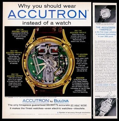 1962 Bulova Accutron Spaceview watch color photo 521 207 too vintage print ad