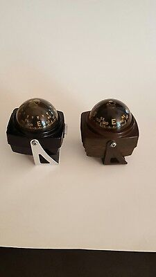 2 VTG Airguide Compasses 1 Black Floating Marine Auto Made in Chicago + Brown 1