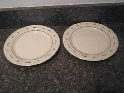 """Longaberger Pottery Woven Tradition Pair (2) Traditional Blue 9"""" LUNCHEON Plates"""