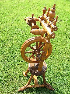 Beautiful Light Wood Old Antique Castle Upright Space Saving Spinning Wheel