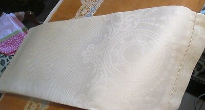 Antique Pair Large Linen Damask Hand Towels