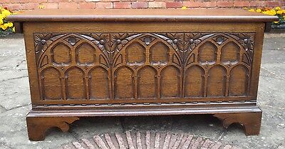 Antique Gothic Style Unusual Old Charm Carved Oak Blanket Box, Coffer, Chest