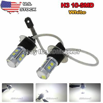 2x Xenon White H3 3030 10-SMD For Vehicle Car Fog Driving DRL LED Light BULBS