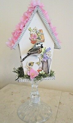 Shabby or chic decorative indoor birdhouse without stand