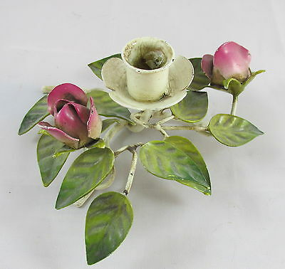 Vintage Italy Tole Painted Metal Leaves & Roses Single Console Candlestick