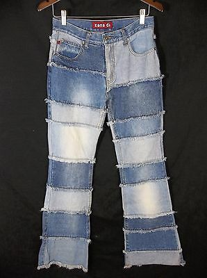 Vintage Zana-di Flare Jeans Frayed Patchwork Womens 7 High Rise