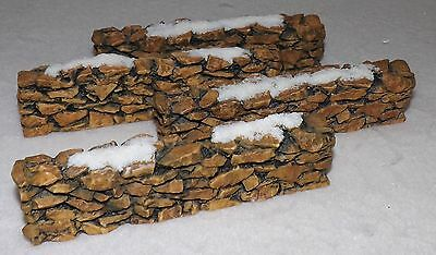 Department 56 Christmas Village Accessories 4-pc Snow Covered Stone Walls