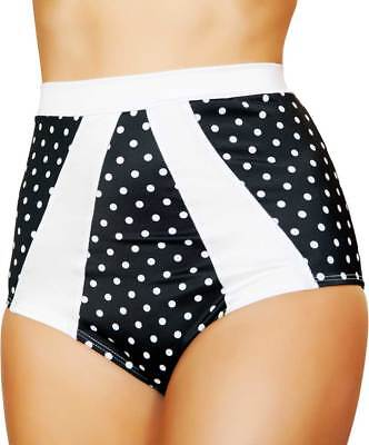 Women's High-Waisted Retro Pinup Style Polka Dotted Shorts with Striped Accents