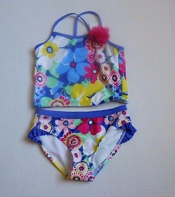 NWT Girls Gymboree Blue Floral Pink Corsage 2pc Tankini Swimsuit sz 7