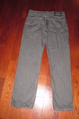 LEVI'S mens SZ 34 x 30 charcoal gray STRAIGHT LEG denim jeans