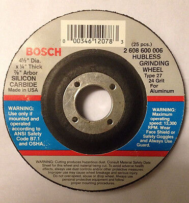 "Bosch Grinding Wheel 4-1/2""x1/4""x7/8""  Type 27, 24 Grit For Aluminum(box of 25)"