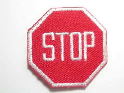 Red Stop Sign Embroidered Iron On Patch 1.5 In