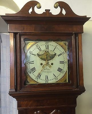 Antique Mahogany Long Case Grandfather Clock Mood Roller 8 Day Macclesfield