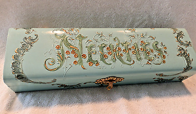 VINTAGE ORNATE NECKTIE BOX with ENAMELED PATTERN and LINED