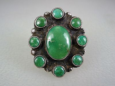 OLD Fred Harvey NAVAJO STERLING SILVER & TURQUOISE SATELLITE CLUSTER RING sz 7