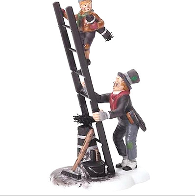 Dept 56 Dickens Village - Chimney Sweep & Son 58548 Father W/ Son On Ladder New