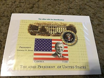 Liberia 2000 US Presidents Mint Stamp sheet Mint S/S George W. Bush 43rd pres.