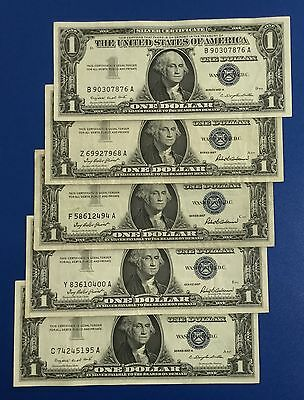 1957-1957B $1 Blue Choice VF SILVER Certificates Set of 5! X876 Old US Currency