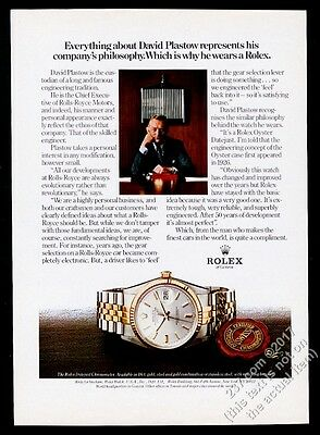 1980 Rolls Royce CEO David Plastow photo Rolex Datejust watch vintage print ad