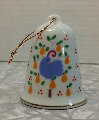 Vintage 1986 Lillian Vernon Christmas Bell Ornament Partridge In A Pear Tree