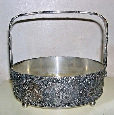 """Barbour Silver Small Serving Dish With Glass Insert/handles- 5.5"""" X 4.5""""-Village"""