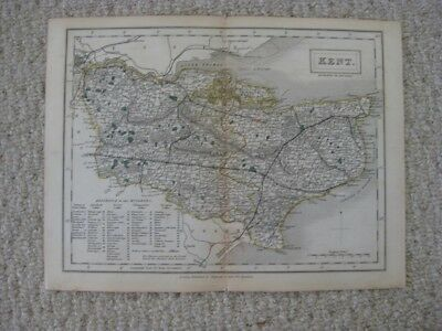Superb Antique 1842 Kent County Canterbury England Handcolored Map Rare Fine