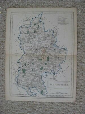 Antique 1842 Bedfordshire County Bedford England Handcolored Map Rare Fine Nr