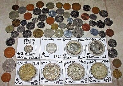 WORLD COIN LOT! EIGHT(8) SILVER COINS! NICE COLLECTION! (47s)