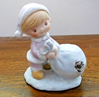 Homco Christmas Figurine #5613 Boy/Santa's Toy Bag with Peaking Puppy VGC