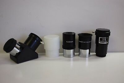 "1.25"" Telescope K25mm, Meade 17.5mm eyepieces, Econ 3x barlow, 90 deg diagonal"