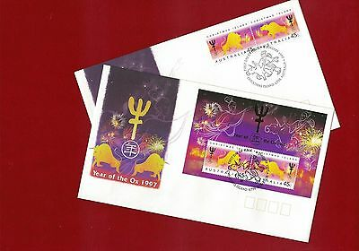 1997 Christmas Island Year of the Ox SG 434/6 FDC Set of 2