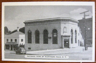 National Bank of Wappingers Falls, NY c. 1940 postcard, old car