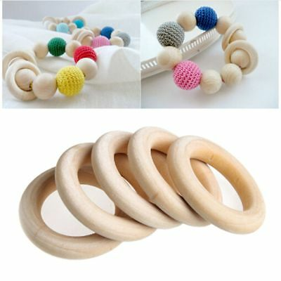 5pcs 70mm Baby Wooden Teething Rings Necklace Bracelet DIY Craft Natural Healthy