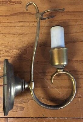 Antique Brass Electric Candle Light Wall Sconce For Parts Or Repair