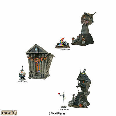 Disney Dept 56 NBC Nightmare Before Christmas Jack House Town Hall Dr Lab 6 pc