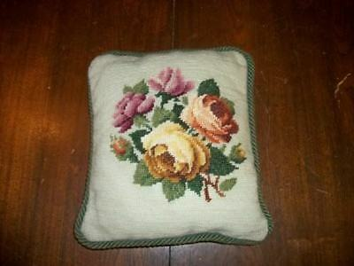 Vintage Needlepoint Roses Pillow Handmade French Chic Shabby Paris Apt Cottage