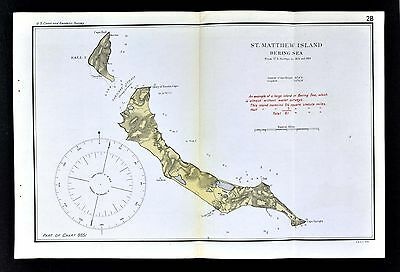 1918 US Coast Survey Map - Alaska St. Matthew Island in Bering Sea Cape Hall