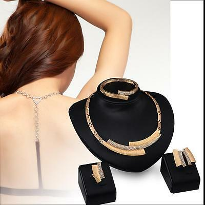Elegant Jewelry Gold Geometric necklace earrings ring bracelet set PS