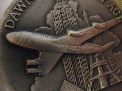 1-Oz. Longines Sterling Silver Boeing 707 1959 Jet 3D High Releif Coin + Gold