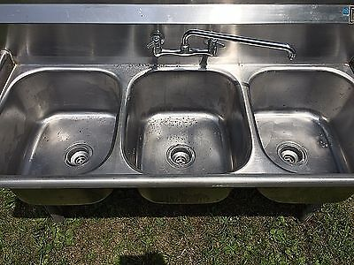 Stainless Steel 3-Compartment Sink-Industrial/Commercial-NSF Approved-used-as is