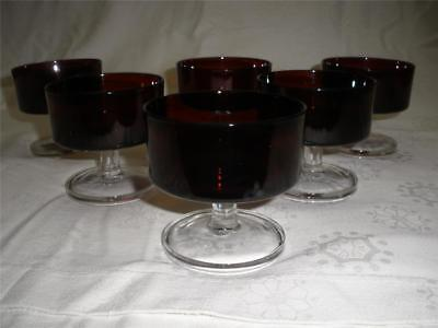 Stunning Red Ruby Glass Stemmed Comports X 6